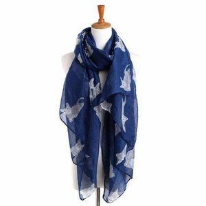 Accessories - Blue Cat Print Cotton Voile Scarf